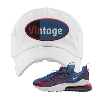 Air Max 270 React ENG Mystic Navy Distressed Dad Hat | Vintage Oval, White