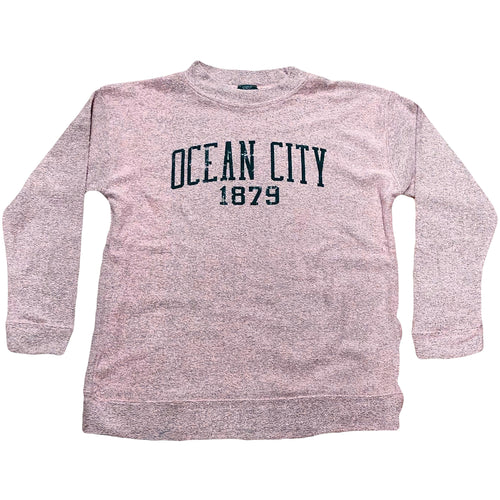 Printed on the front of the pink women's terry ocean city new jersey crewneck sweater is the word ocean city in navy blue above the year 1879
