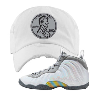 Lil Posite One Rainbow Pixel Distressed Dad Hat | White, Penny