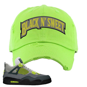Jordan 4 Neon Distressed Dad Hat | Lime Green, Black N Sweet Arch
