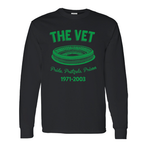 The Vet Pride, Pretzels, Prison Long Sleeve T-Shirt | Veterans Stadium Black Longsleeve Tee Shirt the front of this long sleeve has the vet stadium