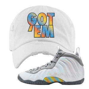Lil Posite One Rainbow Pixel Distressed Dad Hat | White, Got Em