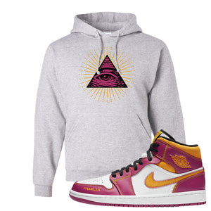 Air Jordan 1 Mid Familia Hoodie | All Seeing Eye, Ash