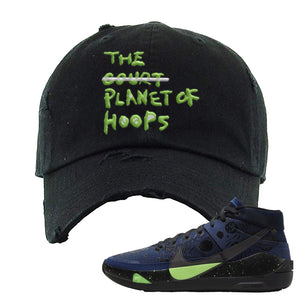 KD 13 Planet of Hoops Distressed Dad Hat | Planet Of Hoops Lettering, Black