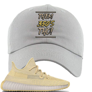 Yeezy Boost 350 V2 Flax Sneaker Light Gray Dad Hat | Hat to match Adidas Yeezy Boost 350 V2 Flax Shoes | Them 350's Tho