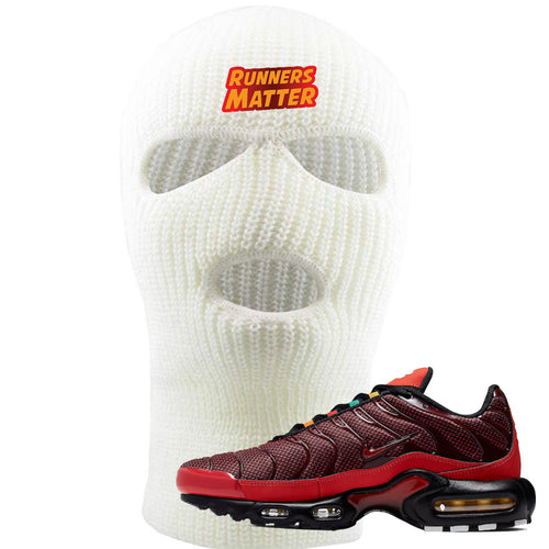 embroidered on the forehead of the air max plus sunburst sneaker matching white ski mask is the runners matter logo