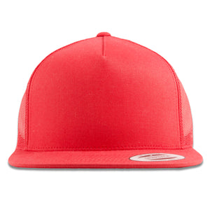The red mesh-back trucker snapback features a red high structured crown and a red flat brim