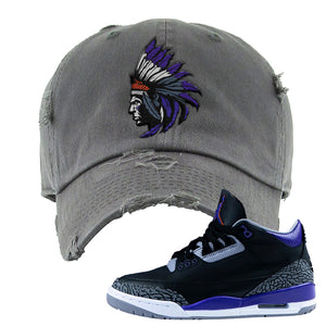 Air Jordan 3 Court Purple Distressed Dad Hat | Indian Chief, Dark Gray