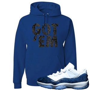 Jordan 11 Low Blue Snakeskin Got 'Em Royal Blue Hoodie
