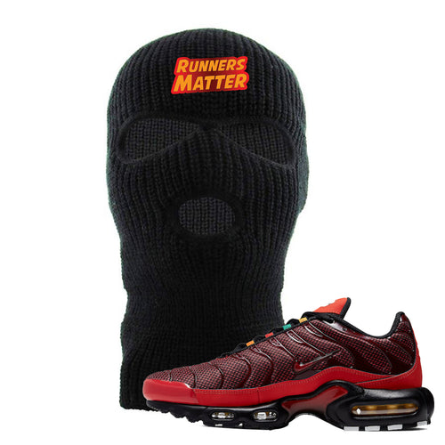 embroidered on the front of the air max plus sunburst sneaker matching black ski mask is the runners matter logo