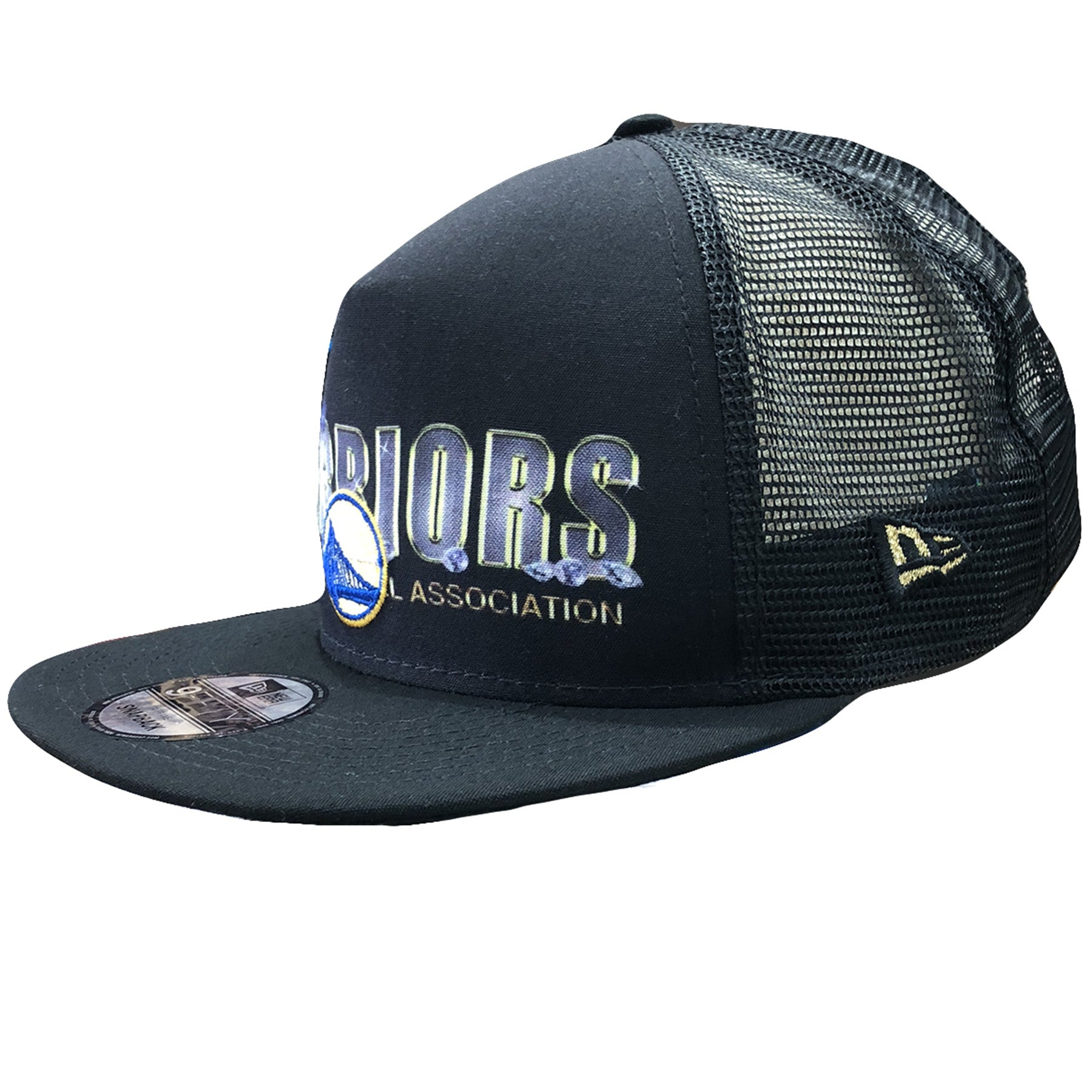 342c168853f ... Embroidered on the left side of the Golden State Warriors trucker snapback  hat is the New ...