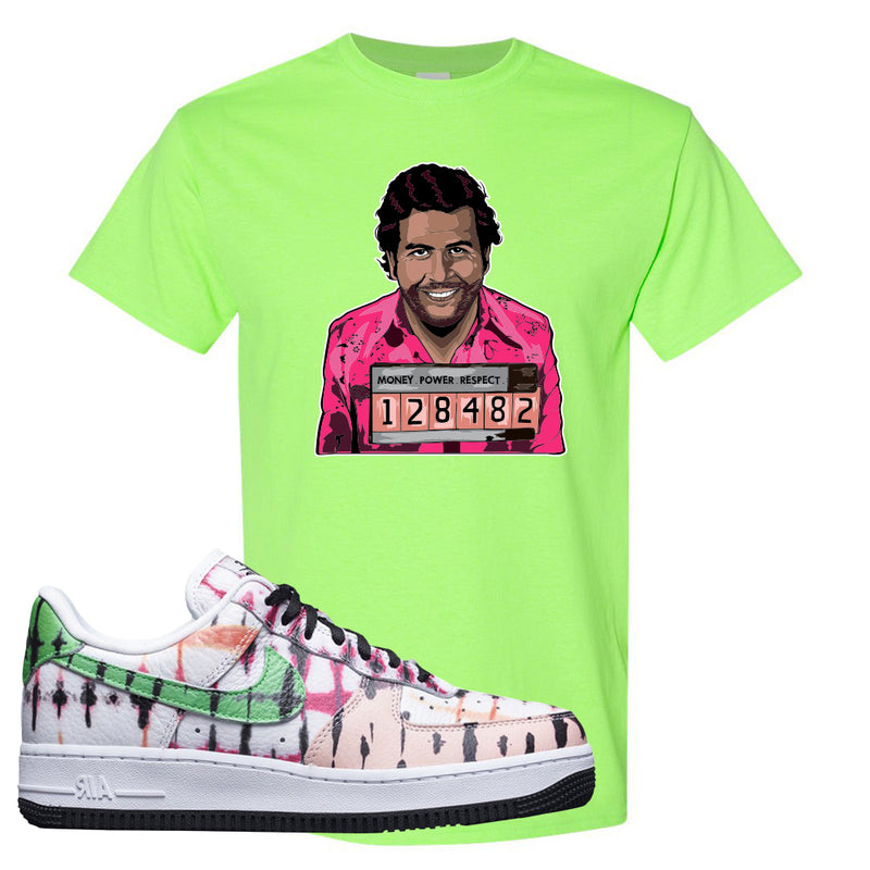 Air Force 1 Low Multi-Colored Tie-Dye T Shirt | Neon Green, Escobar Illustration
