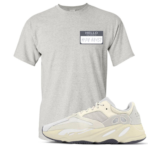 Yeezy Boost 700 Analog Sneaker Match Hello My Name Is Hype Beast Drake Heathered Light Gray T-Shirt