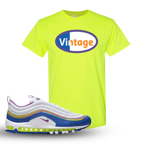 Air Max 97 'Easter' Sneaker Safety Green T Shirt | Tees to match Nike Air Max 97 'Easter'Shoes | Vintage Oval