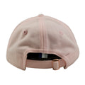 the back of the new york yankees pink dad hat is a pink adjustable strap with a rose gold metallic buckle