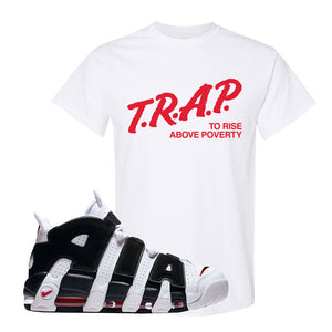 Air More Uptempo White Black Red T Shirt | White, Trap To Rise Above Poverty