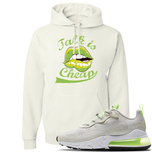 Air Max 270 React Ghost Green Sneaker White Pullover Hoodie | Hoodie to match Nike Air Max 270 React Ghost Green Shoes | Talk Is Cheap