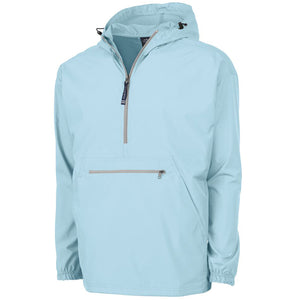 the front of the men's anorak jacket is aqua blue with a quarter zipper on the front as well as a zipper-closed stomach patch