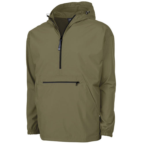 the olive men's windbreaker anorak jacket is solid olive green with a quarter zip and front zipper pocket