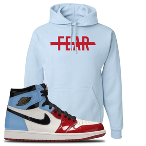 Air Jordan 1 Fearless Fear Crossed Out Light Blue Made to Match Pullover Hoodie