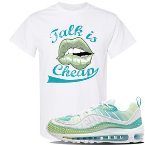 WMNS Air Max 98 Bubble Pack Sneaker White T Shirt | Tees to match Nike WMNS Air Max 98 Bubble Pack Shoes | Talk is Cheap