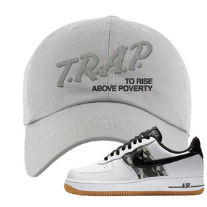 Air Force 1 Low Camo Dad Hat | Trap To Rise Above Poverty, Light Gray