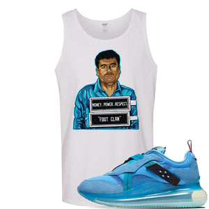 Air Max 720 OBJ Slip Light Blue Tank Top | White, El Chapo Illustration