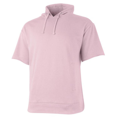 the pink short sleeve hoodie is solid pink and features a pink hood and short sleeves