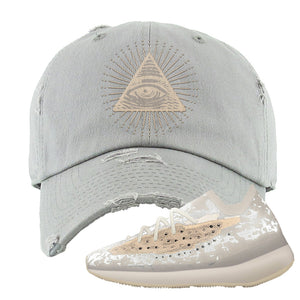 Yeezy Boost 380 'Pepper' Distressed Dad Hat | Light Gray, All Seeing Eye
