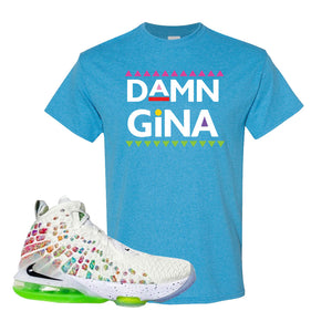Lebron 17 Air Command Force T Shirt | Heather Sapphire, Damn Gina