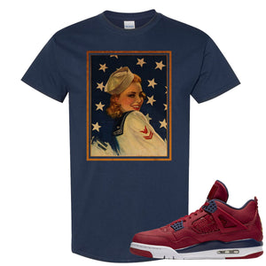Jordan 4 FIBA Navy Sailor Pin Up Woman Navy Blue Sneaker Matching Tee Shirt