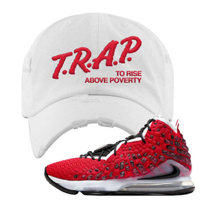 Lebron 17 Uptempo Distressed Dad Hat | White, Trap To Rise Above Poverty