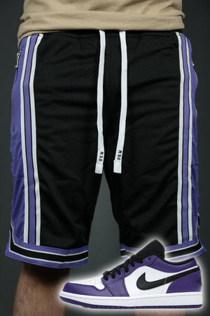 The Sacramento black purple shorts to match Jordan 1 Low Court Purple sneakers with white stripes.
