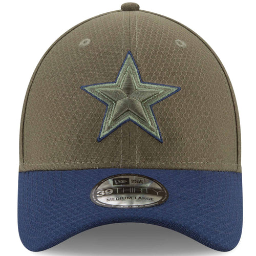 on the front of the dallas cowboys salute to service flexfit cap, the cowboys logo is embroidered in green
