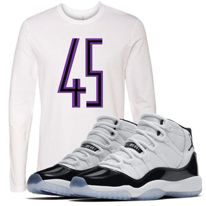 Match your Jordan 11 Concords with this white longsleeve Jordan 11 Concord sneaker matching tee