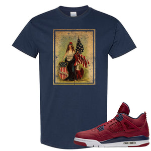 Jordan 4 FIBA Lady Liberty Shield Navy Sneaker Matching Tee Shirt
