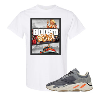 Yeezy Boost 700 Magnet GTA Cover White Sneaker Matching Tee Shirt