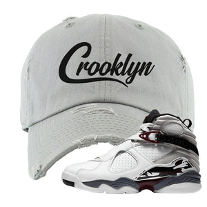 Air Jordan 8 Beetroot Distressed Dad Hat | Crooklyn, Light Gray