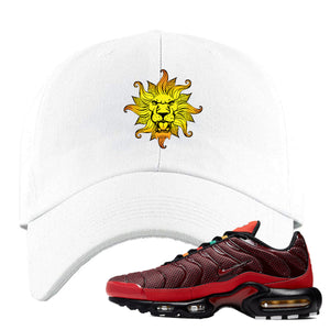 Embroidered on the front of the air max plus sunburst sneaker matching white dad hat is the vintage lion head logo