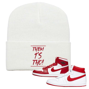 Jordan 1 New Beginnings Pack Sneaker White Beanie | Beanie to match Nike Air Jordan 1 New Beginnings Pack Shoes | Them 1's Tho