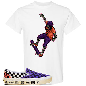 Vans Slip On Venice Beach Pack T Shirt | White, Skeleton Skateboarder