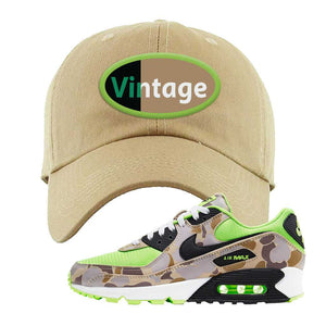 Air Max 90 Duck Camo Ghost Green Dad Hat | Khaki, Vintage Oval