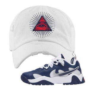 Air Barrage Low USA Distressed Dad Hat | White, All Seeing Eye