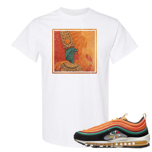 Printed on the front of the Air Max 97 Sunburst Safety Orange Sneaker Matching White Tee Shirt is the Vintage Egyptian logo