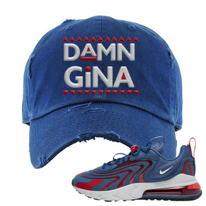 Air Max 270 React ENG Mystic Navy Distressed Dad Hat | Damn Gina, Navy