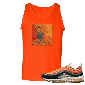 Printed on the front of the Air Max 97 Sunburst Orange sneaker matching tank top is the vintage egyptian logo