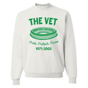 The Vet Pride, Pretzels, Prison Crewneck | Veterans Stadium White Crewneck Sweatshirt the front of this crewneck has the vet stadium