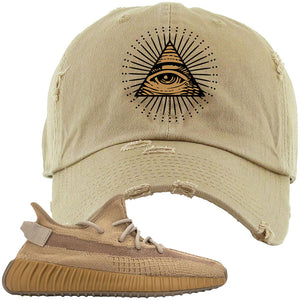 Yeezy Boost 350 V2 Earth Sneaker Distressed Dad Hat To Match | All Seeing Eye, Khaki