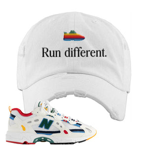 Aime Leon Dore X New Balance 827 Abzorb Multicolor 'White' Distressed Dad Hat | White, Run Different
