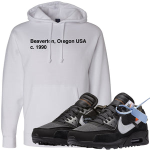 Wear your Nike Air Max 90 OFF-WHITE Black sneakers with this OFF-WHITE inspired sneaker matching hoodie to complete your Air Max 90 OFF-WHITE sneaker matching outfit.